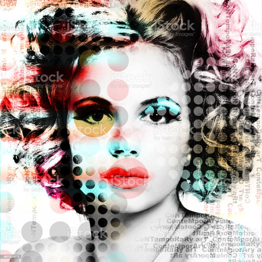 The poster with a portrait of a beautiful girl in the style of contemporary art. stock photo