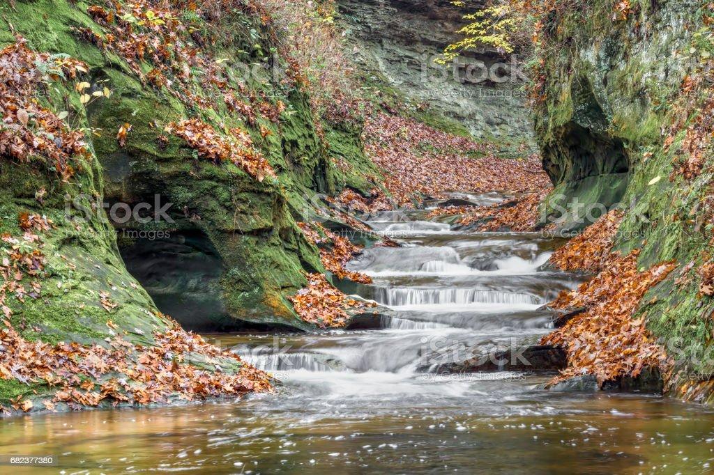 The Potholes at Fall Creek Gorge in Autumn zbiór zdjęć royalty-free