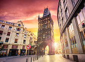 The Powder Tower,  medieval gothic city gate in Prague. Czech Republic
