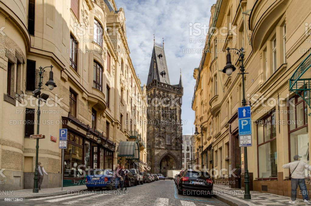The Powder Tower in Prague stock photo