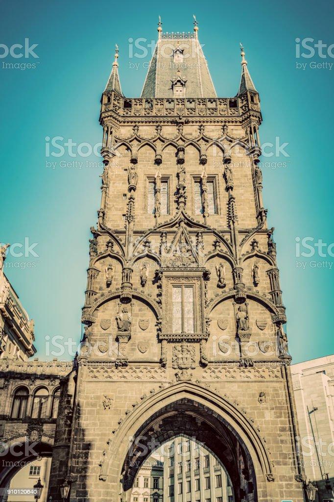 The Powder Tower or Prasna Brana in Prague, Czech Republic. Vintage stock photo