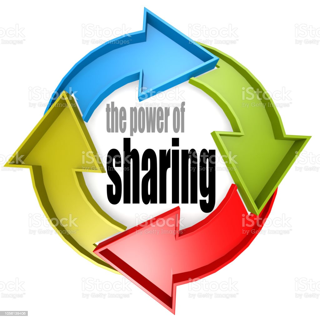 The power of sharing color cycle sign stock photo