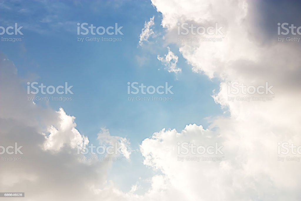 The Power of Sunlight , The Blue Sky and the Clouds. royalty-free stock photo