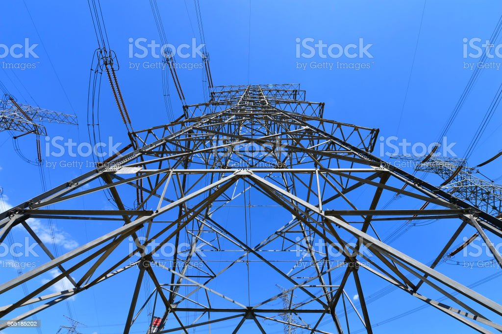 The power supply facilities of contour in the evening royalty-free stock photo