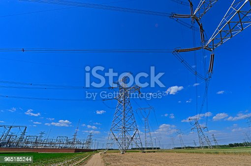 The Power Supply Facilities Of Contour In The Evening Stock Photo & More Pictures of Cable