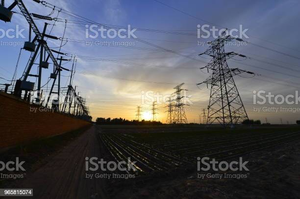 The Power Supply Facilities Of Contour In The Evening Stock Photo - Download Image Now