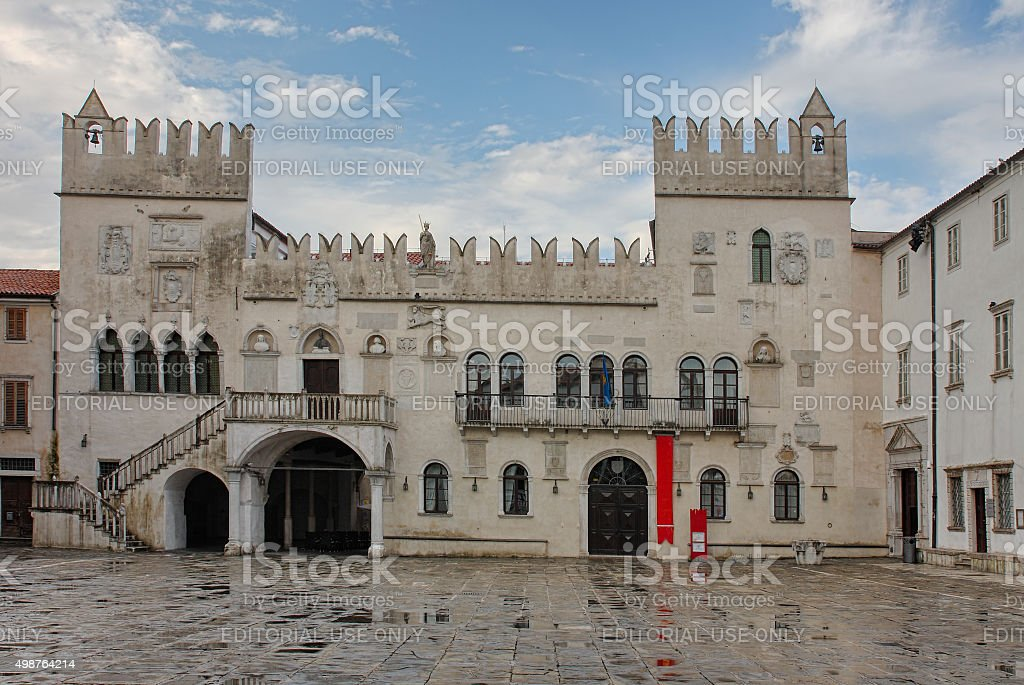 The Praetorian Palace in the city of Koper after rain stock photo