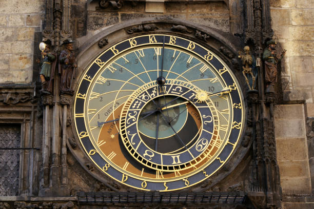 The prague astronomical clock Astronomical clock tower in old town square in Prague. astronomical clock prague stock pictures, royalty-free photos & images