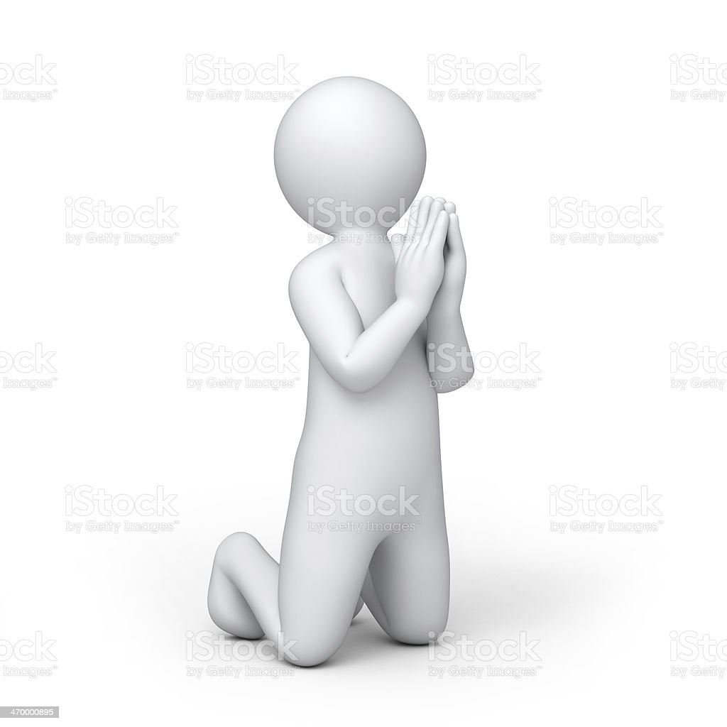the praying 3d human stock photo