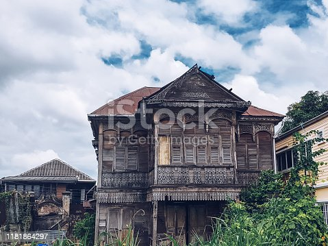 The preserved ancient wooden house is located in the Kudi Chin community.Place located on the banks of the Chao Phraya River ,Thonburi,Thailand