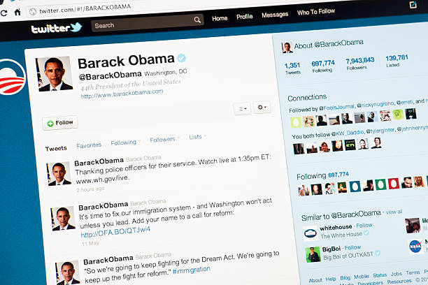 The President Barack Obama Page on Twitter.com Rome, Italy- May 11, 2011: Close up of the United States president Barack Obama page on twitter.com. Twitter is a free social networking and microblogging service that gives users a personal web page up-dateable by text messages with a maximum length of 140 characters. barack obama stock pictures, royalty-free photos & images