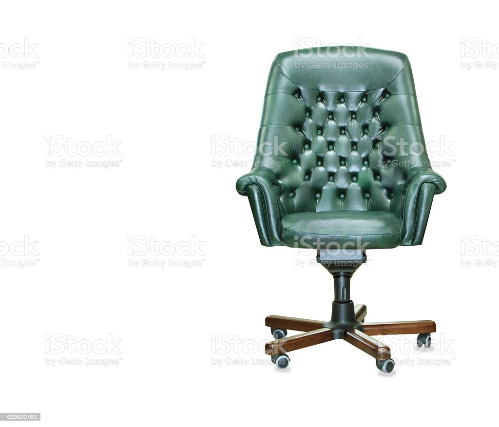 The president office chair from green leather. Isolated stock photo