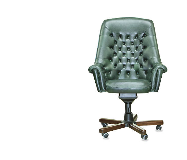 the president office chair from green leather. isolated - chaise de bureau photos et images de collection