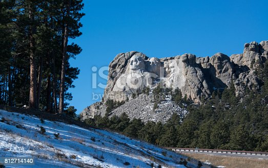 The presidential faces of Mount Rushmore can be seen from a long distance away in the forest
