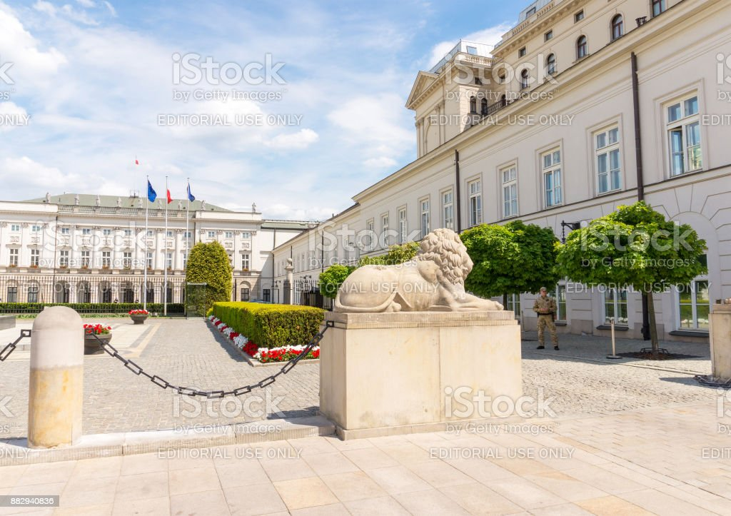 The Presidential Palace of Poland in Warsaw stock photo