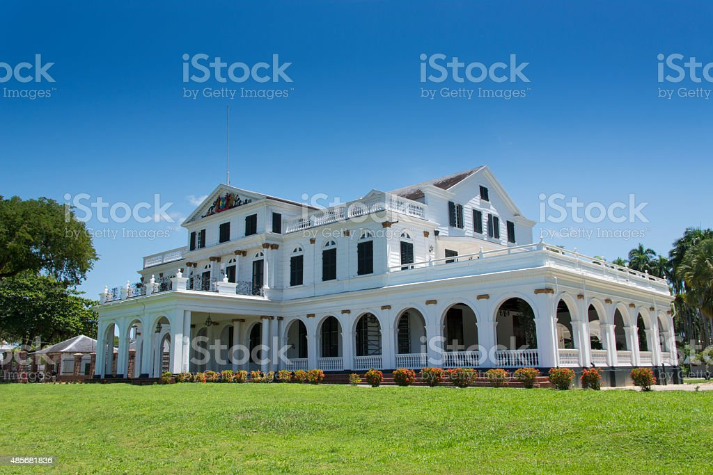 The Presidential Palace of Suriname stock photo