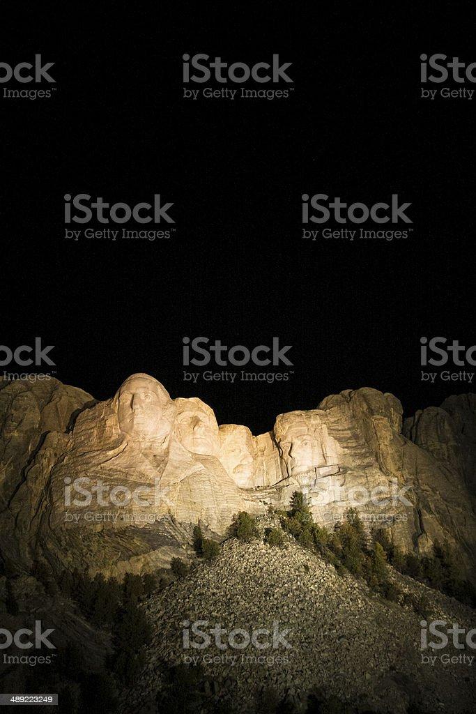 The Presidents at Mount Rushmore in South Dakota at night royalty-free stock photo