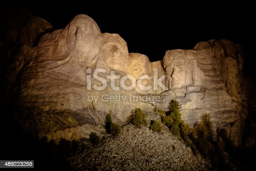 1195382882istockphoto The Presidents at Mount Rushmore in South Dakota at night 489223255