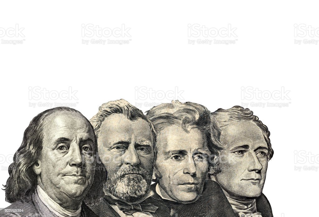 The Presidents on dollar of US American isolated on white background. This has clipping path stock photo