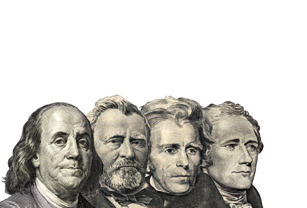 the presidents on dollar of us american isolated on white background. this has clipping path - президент стоковые фото и изображения
