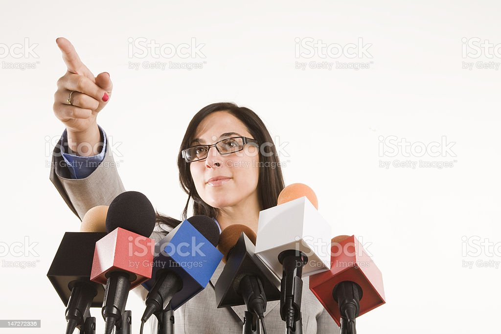 the press conference stock photo