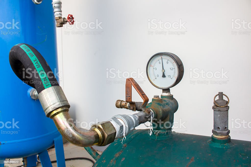 The pressure gauge, in the pneumatic system. stock photo