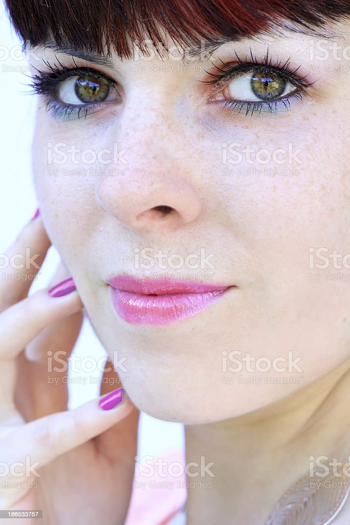 The pretty young woman stock photo