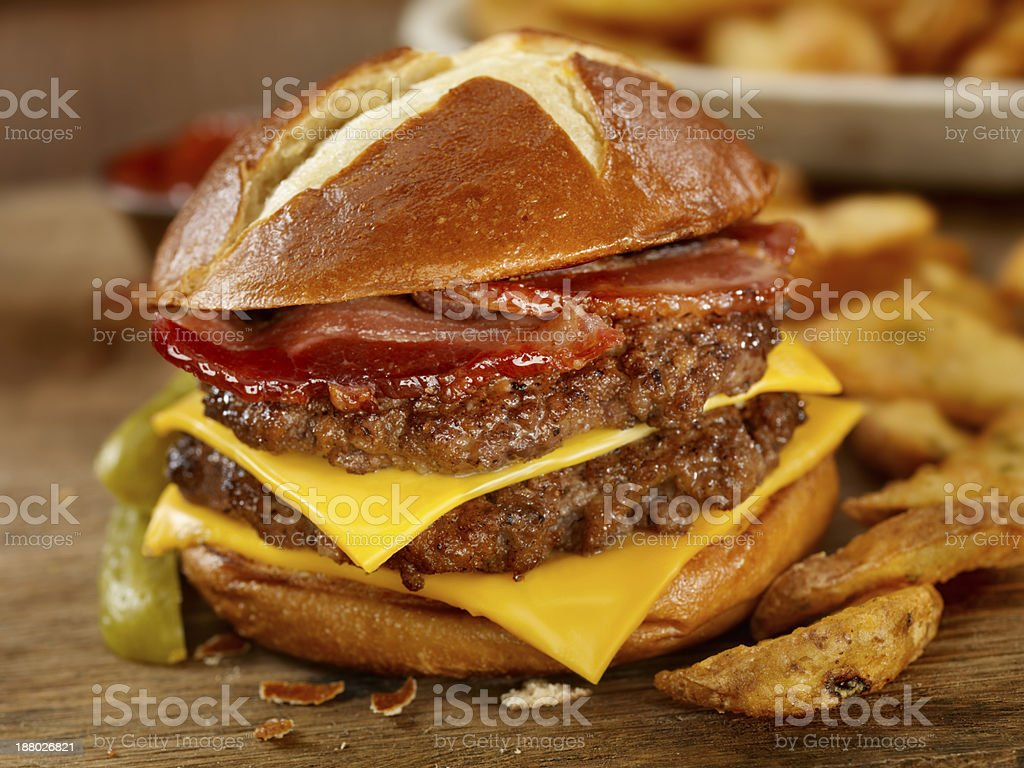 The Pretzel Burger stock photo