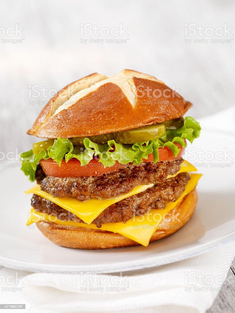 The Pretzel Burger stock photo