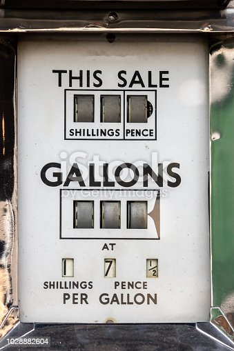 The price of petrol. Vintage car fuel pump meter with gallons priced in shillings and pence. Retro gasoline station. Antique gas dispenser showing inflation in the crude oil and petroleum industry.