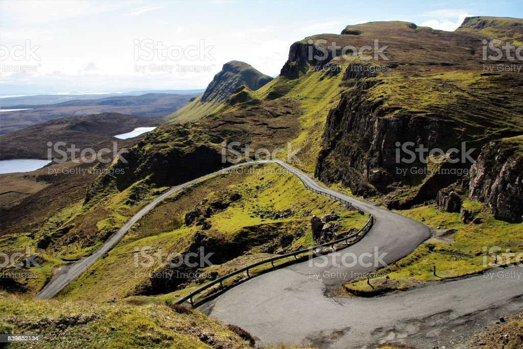 The Primeval Landscape of the Quirang on the Isle of Skye, Scotland stock photo