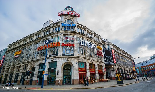 Manchester, United Kingdom - March 14, 2009: Wide view of 'The Printworks', an urban entertainment venue in Manchester, UK