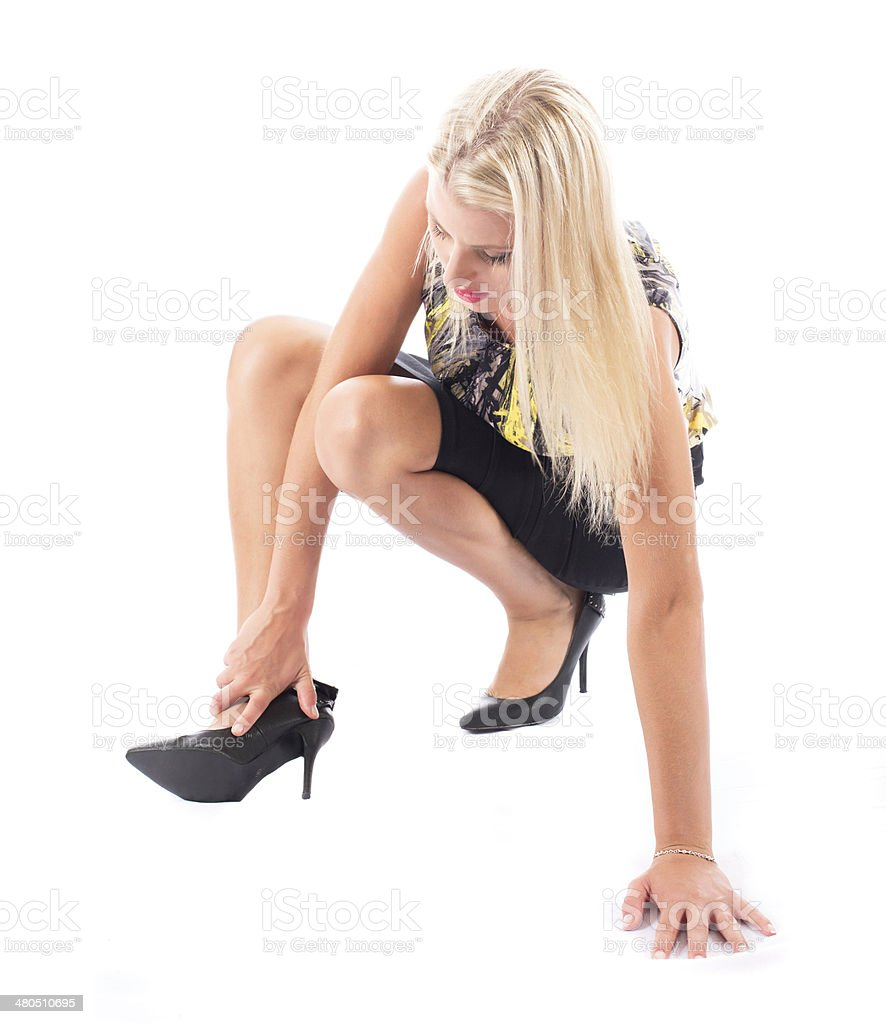The problem with high heels stock photo