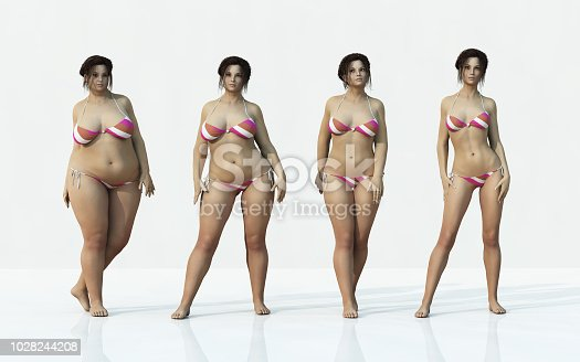 The process from a fat body to a skinny one. This is a 3d render illustration