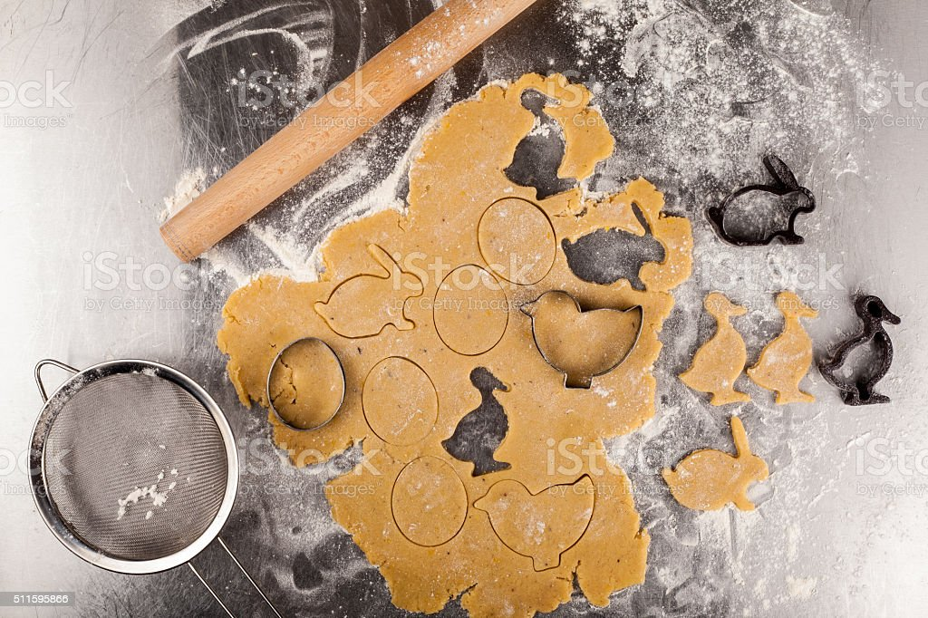 The process of baking cookies at home stock photo