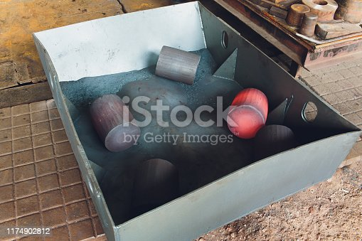 istock The process of forging metal in the production of heavy molded metal products. Blacksmithing. Pattern and forms for the artist blacksmith. Treatment of molten metal close-up. Handmade blacksmith. 1174902812