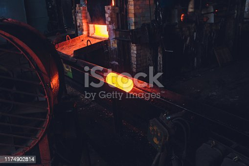 istock The process of forging metal in the production of heavy molded metal products. Blacksmithing. Pattern and forms for the artist blacksmith. Treatment of molten metal close-up. Handmade blacksmith. 1174902814