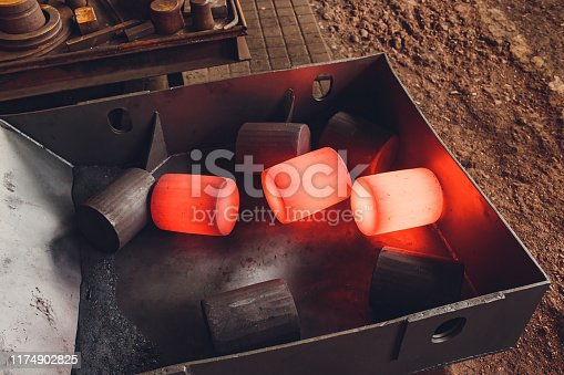 istock The process of forging metal in the production of heavy molded metal products. Blacksmithing. Pattern and forms for the artist blacksmith. Treatment of molten metal close-up. Handmade blacksmith. 1174902825