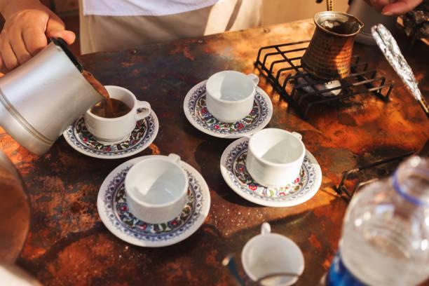 The process of making Turkish coffee stock photo