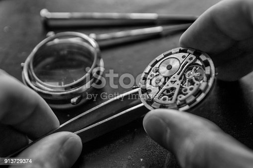 istock The process of repair of mechanical watches 913729374