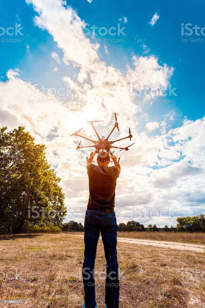 The process of setting up a copter before flight. stock photo