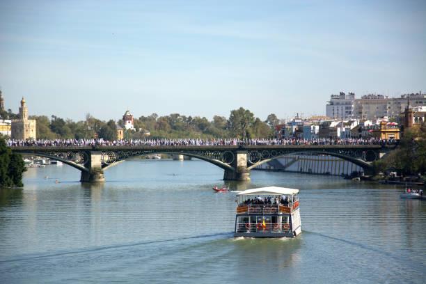 processionen sett från floden, från båtarna - easter procession spain bildbanksfoton och bilder