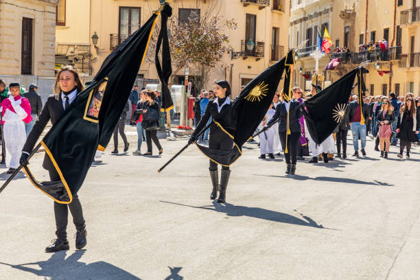The Processione dei Misteri di Trapani, performed for 300 years, celebrates Easter with parades of marching through city  for days. stock photo