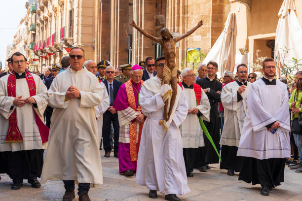 The Processione dei Misteri di Trapani, performed for 300 years, celebrates Easter with parades throughout the week. stock photo