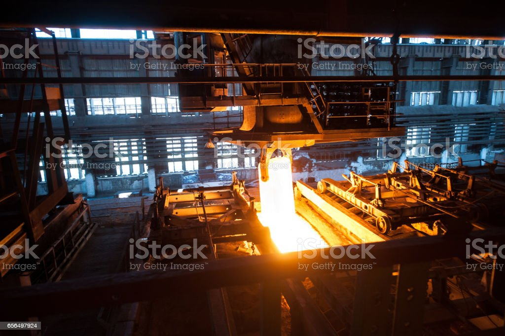 The production process in the rolling mill stock photo