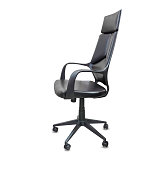 istock The profile view of office chair from black leather. Isolated 1149724935
