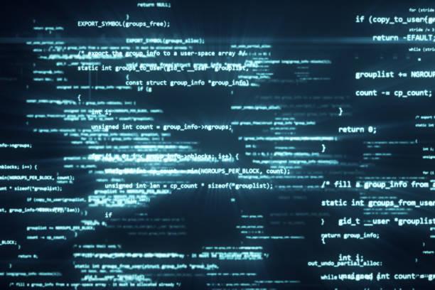 o código de programação funciona através da computador tela terminal 3d ilustração - c - fotografias e filmes do acervo