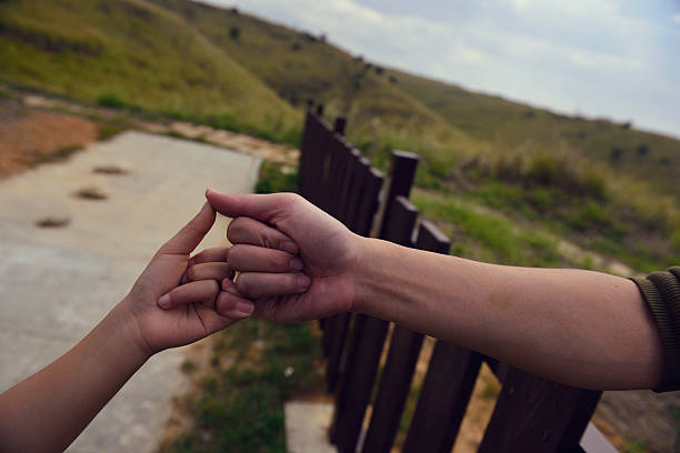 the promise is solid . - pinky promise stock photos and pictures