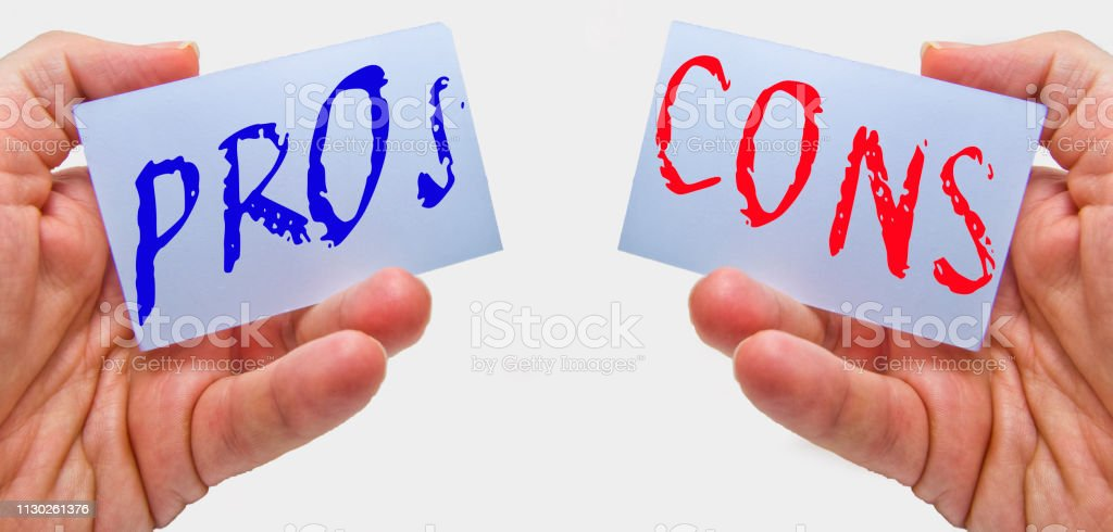 The pros and the cons! Advantages and disadvantages, which you consider carefully so that you can make a sensible decision stock photo