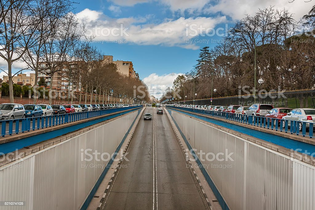 The prospect of fences, cars, trees. Converging lines. Madrid Spain stock photo